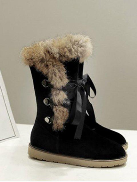 outfits Ribbon Furry Snow Boots - BLACK 37 Mobile