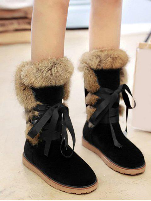 outfit Ribbon Furry Snow Boots - BLACK 39 Mobile