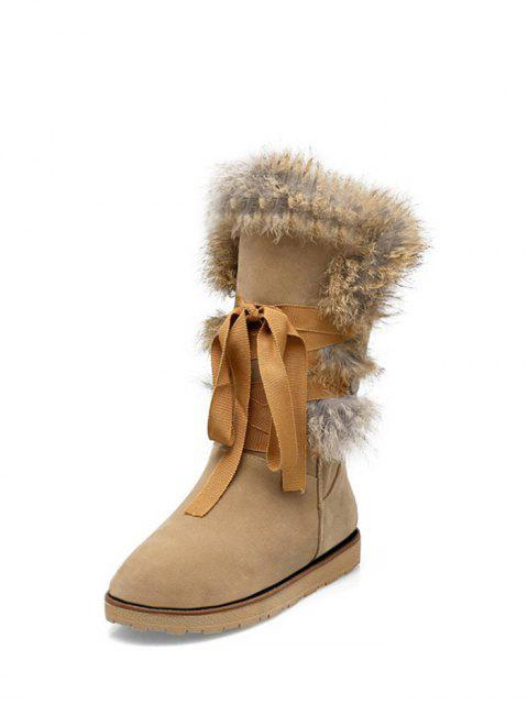 latest Ribbon Furry Snow Boots - APRICOT 37 Mobile