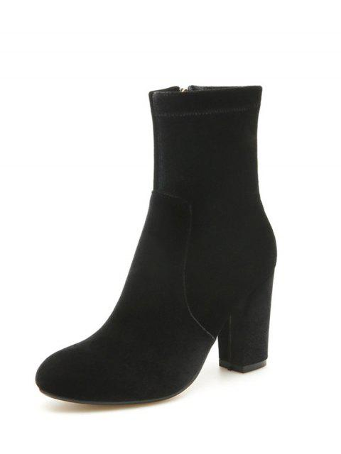fashion Chunky Heel Velvet Sock Boots - BLACK 39 Mobile