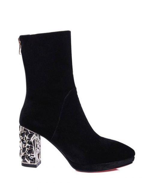 ladies Metal Chunky Heel Velvet Sock Boots - BLACK 38 Mobile