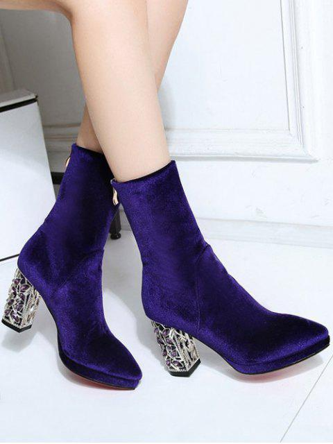lady Metal Chunky Heel Velvet Sock Boots - PURPLE 39 Mobile
