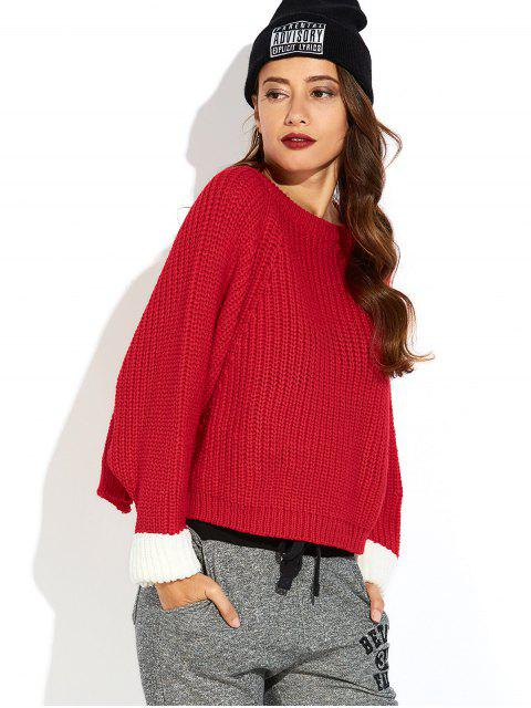 hot Color Block Batwing Sleeve Ribbed Sweater - RED ONE SIZE Mobile