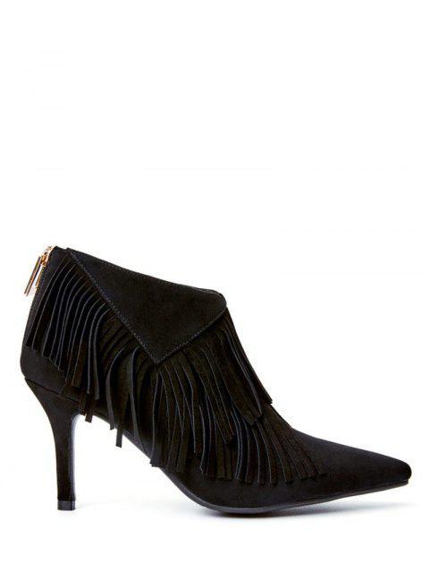 new Fringe Stiletto Heel Pointed Toe Boots - BLACK 39 Mobile