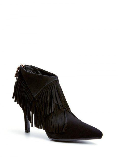 hot Fringe Stiletto Heel Pointed Toe Boots - BLACK 37 Mobile