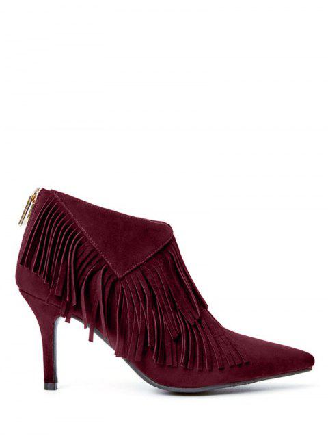 shops Fringe Stiletto Heel Pointed Toe Boots - WINE RED 38 Mobile