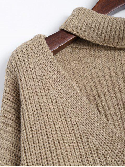 lady Ribbed Zipper Choker Swater - KHAKI ONE SIZE Mobile