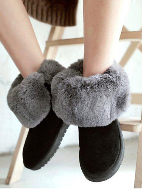 chic Fold Down Fuzzy Snow Boots - BLACK 39 Mobile