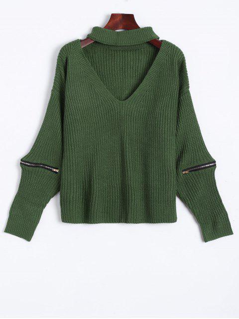 De gran tamaño cuello en V suéter Gargantilla - Verde Talla única Mobile