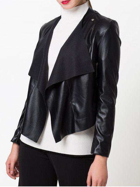 fashion Snap Button Biker Jacket - BLACK S Mobile