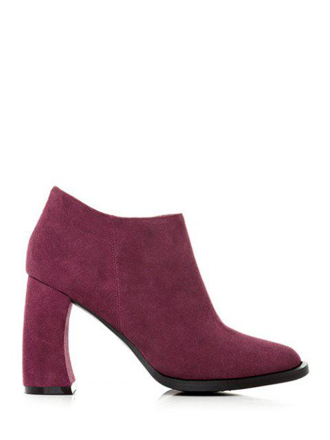 affordable Side Zip Suede Chunky Heel Ankle Boots - WINE RED 37 Mobile