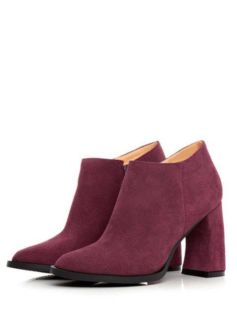 sale Side Zip Suede Chunky Heel Ankle Boots - WINE RED 39 Mobile