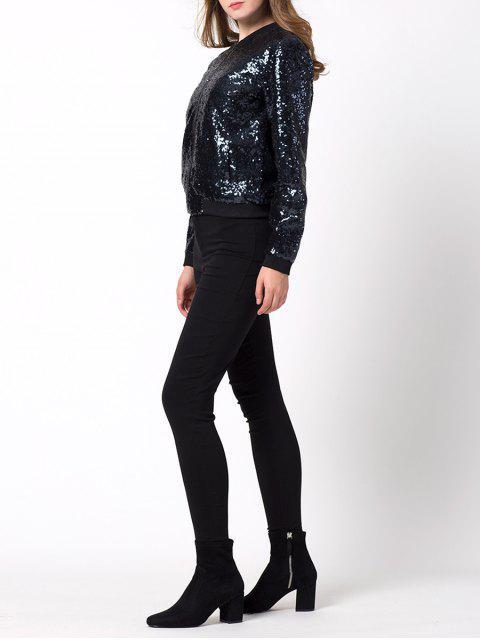 affordable Zip-Up Sequined Jacket - BLACK M Mobile
