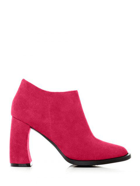 women's Side Zip Suede Chunky Heel Ankle Boots - ROSE RED 38 Mobile