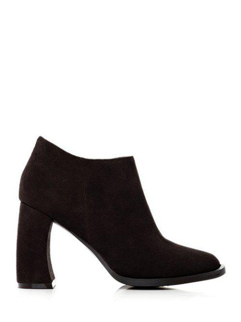 best Side Zip Suede Chunky Heel Ankle Boots - BLACK 38 Mobile
