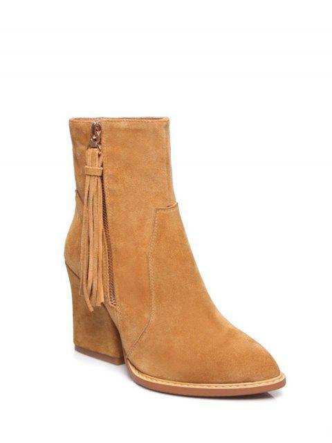 online Chunky Heel Tassel Short Boots - LIGHT BROWN 39 Mobile