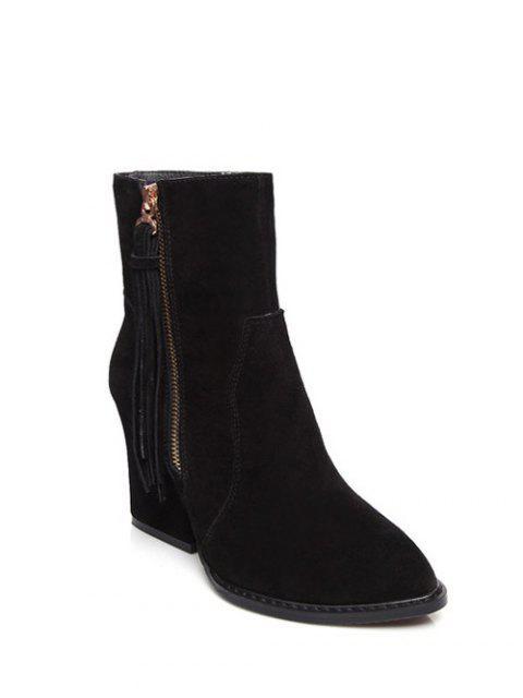 shop Chunky Heel Tassel Short Boots - BLACK 38 Mobile