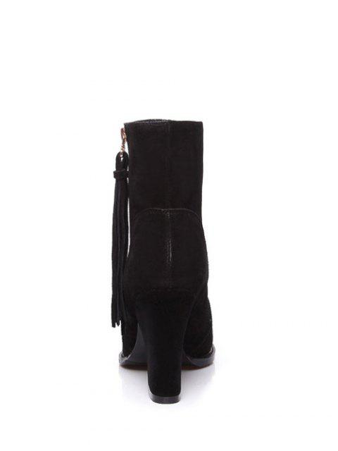 outfits Chunky Heel Tassel Short Boots - BLACK 37 Mobile