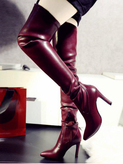 shops Stiletto Heel Pointed Toe Leather Thigh Boots - WINE RED 39 Mobile