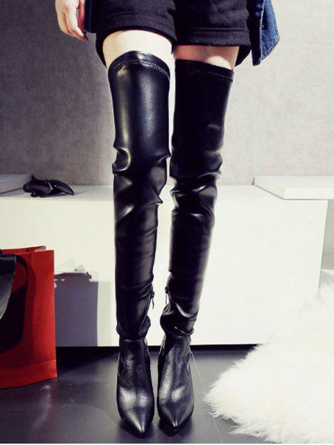 fashion Stiletto Heel Pointed Toe Leather Thigh Boots - BLACK 39 Mobile