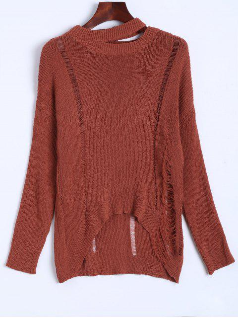 shop Oversized Distressed Sweater - JACINTH ONE SIZE Mobile