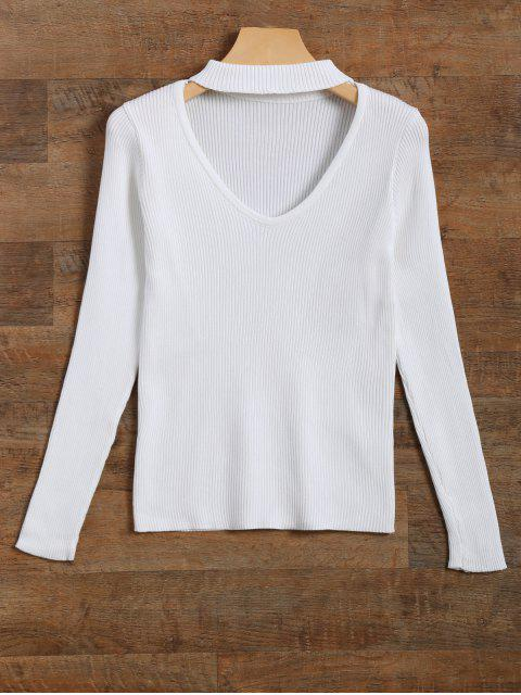 fashion Ribbed Cut Out Choker Jumper - WHITE S Mobile