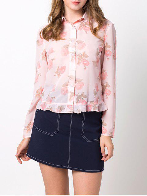 hot Floral Ruffles Chiffon Blouse - PINK XL Mobile