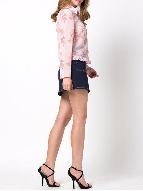 shop Floral Ruffles Chiffon Blouse - PINK S Mobile