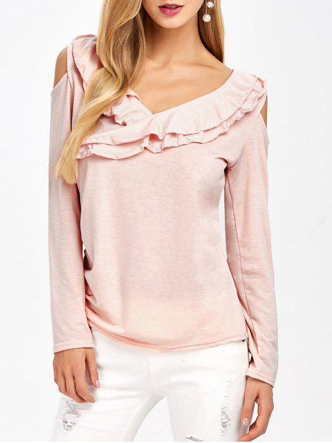 lady Cold Shoulder V Neck Ruffles T-Shirt - PINK XL Mobile