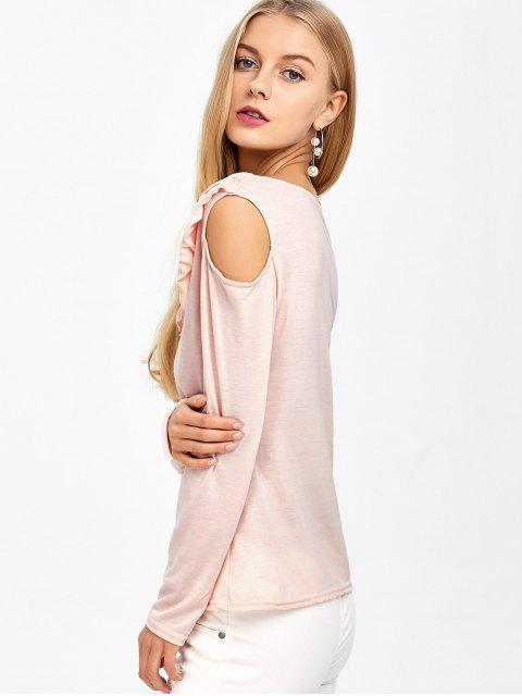 new Cold Shoulder V Neck Ruffles T-Shirt - PINK S Mobile