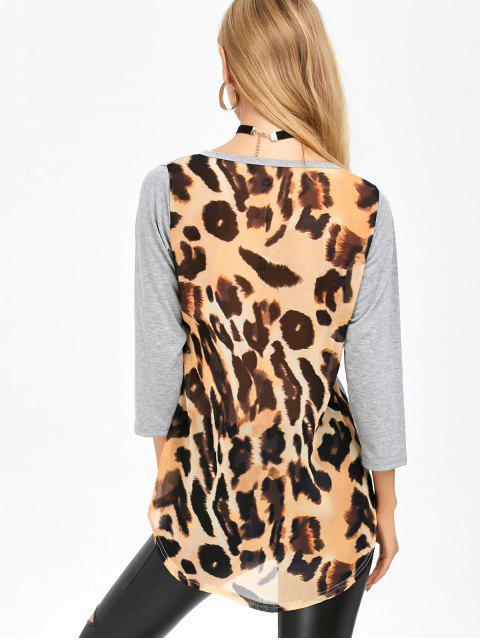 unique High Low Leopard Spliced T-Shirt - LEOPARD L Mobile