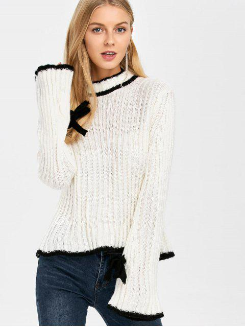 fancy Flare Sleeve Stand Neck Sweater - WHITE ONE SIZE Mobile