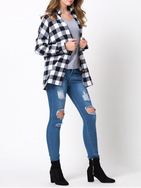 chic Long Checked Shirt - WHITE AND BLACK M Mobile