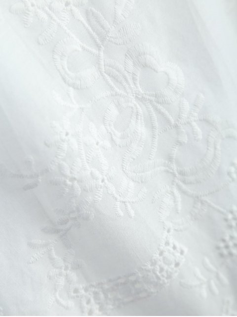 shop Hollow Out Self-Tie Embroidered Blouse - WHITE M Mobile