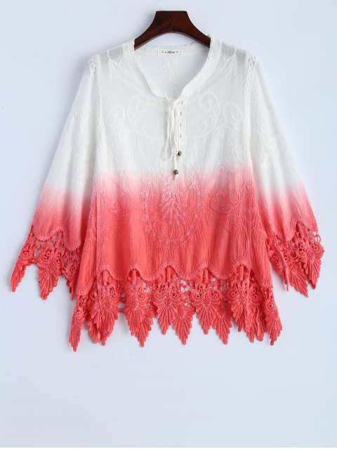 chic Ombre Lace Spliced Blouse - WATERMELON RED ONE SIZE Mobile
