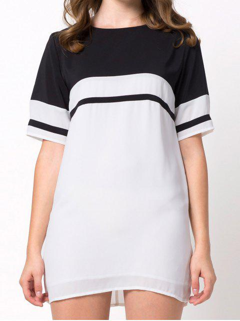 unique Color Block Casual Dress - WHITE XS Mobile