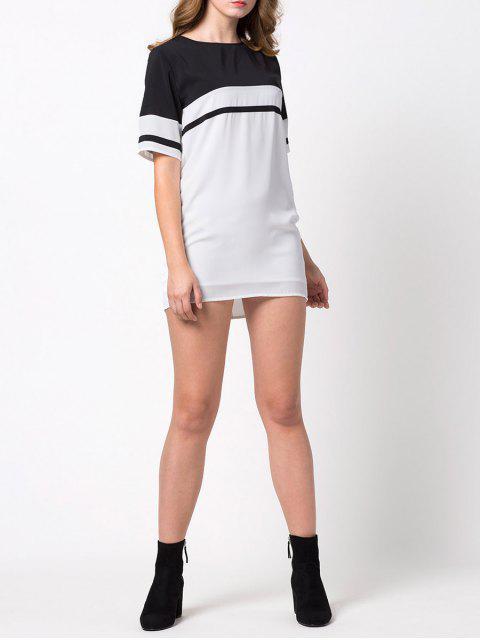 chic Color Block Casual Dress - WHITE M Mobile