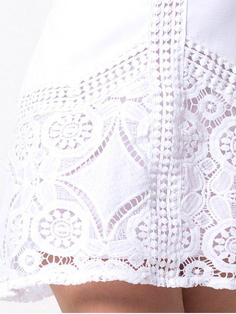 women Lace Insert Cut Out A-Line Dress - WHITE S Mobile