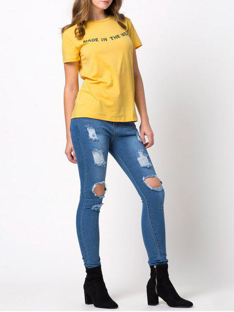 outfits Fitting Letter T-Shirt - YELLOW M Mobile