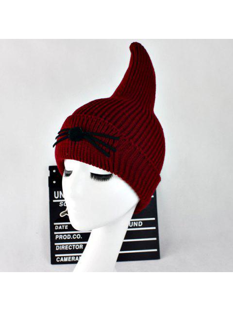 outfits Warm Cat Beard Shark Fin Shape Knit Hat - WINE RED  Mobile