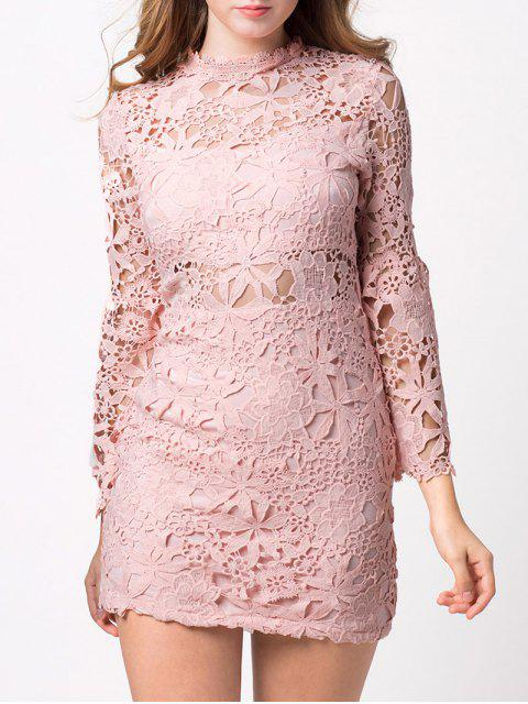 women Cut Out Flare Sleeve Lace Dress - PINK L Mobile