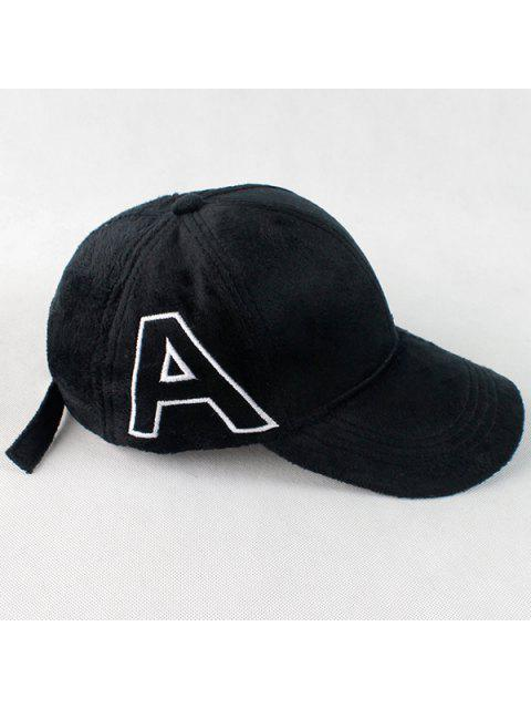 latest Warm Letter A Embroidery Plush Baseball Hat - BLACK  Mobile