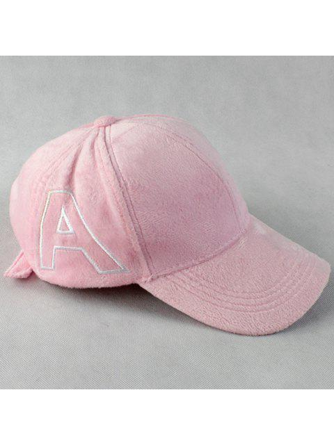 chic Warm Letter A Embroidery Plush Baseball Hat - PINK  Mobile