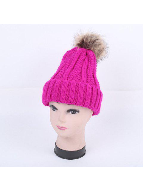 fancy Winter Stripy Flanging Pom Hat - BRIGHT PINK  Mobile