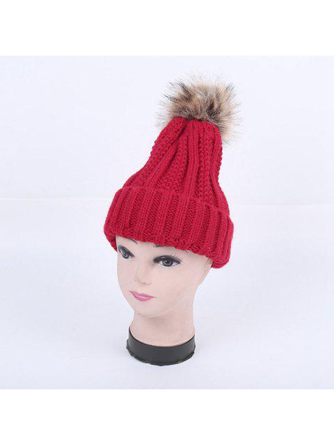 unique Winter Stripy Flanging Pom Hat - RED  Mobile