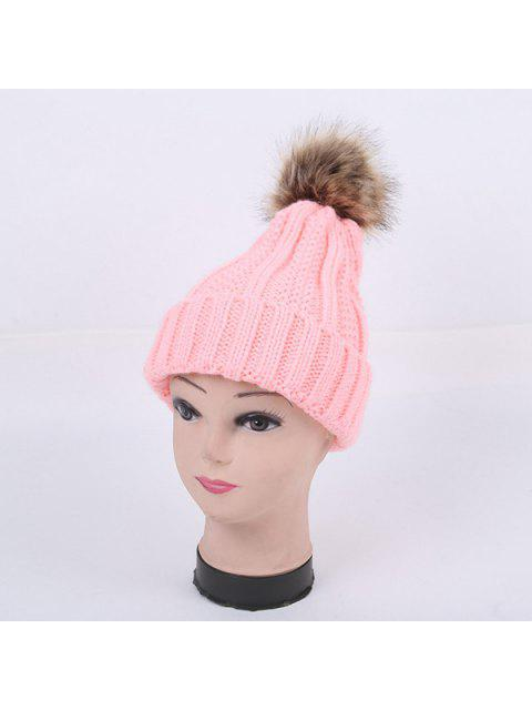 lady Winter Stripy Flanging Pom Hat - PINK  Mobile