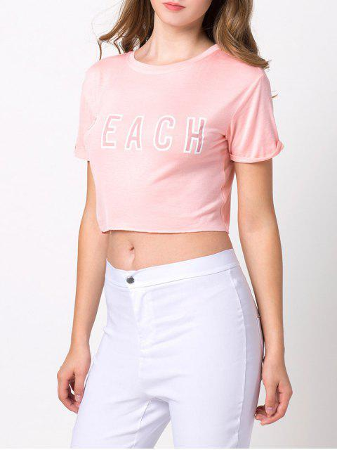 fancy Letter Cropped T-Shirt - PINK S Mobile