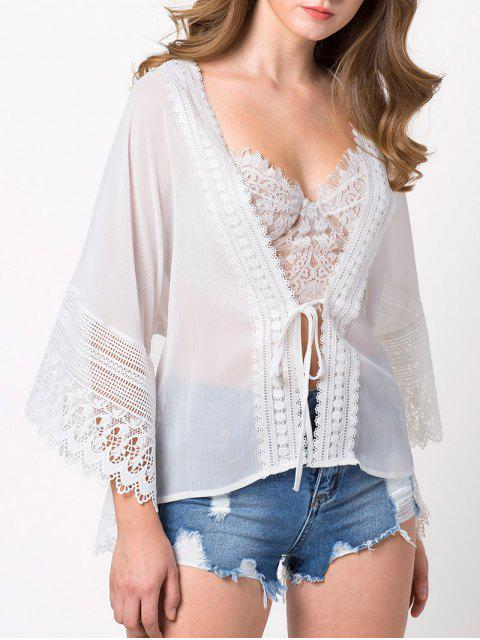 shop String Lace Insert Blouse - WHITE L Mobile