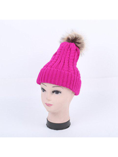 fashion Winter Cable Knit Pom Hat - BRIGHT PINK  Mobile