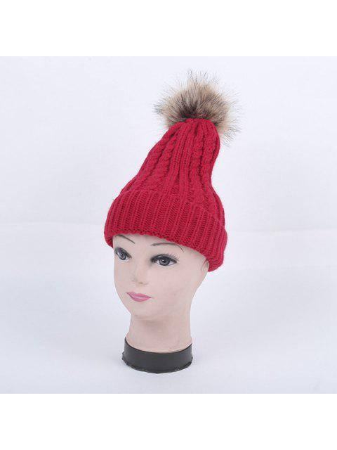 fancy Winter Cable Knit Pom Hat - RED  Mobile